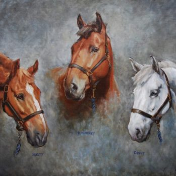 Three Hunters, oil